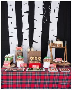 lumberjack baby shower inspiration  plaid + birch tree backdrop  #pinparty