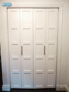 Builder-grade, flat panel closet doors? Add some trim to make them look custom.