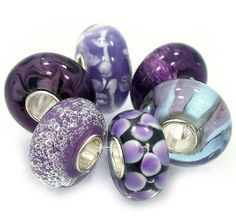 "Pro Jewelry  .925 Sterling Silver "" 6 Beads Shades of Purple "" Murano Glass Beads Fits Pandora Troll Chamilia Carlo Biagi Zable  4.5 out of 5 stars  See all reviews (6 customer reviews) 
