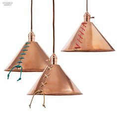 Editors Picks 90 Amazing Light Fixtures Laced copper pendants in untreated copper with suede cords by Michele Varian Shop Copper Pendant Lights, Copper Lamps, Copper Lighting, Pendant Lamp, Pendant Lighting, Copper Ceiling, Modern Lighting, Garage Lighting, Shop Lighting