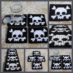 plastic+canvas+coasters | Set of 4 plastic canvas skull & crossbones coasters