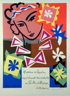 Original Künstler Plakat Matisse Original Artist Poster Matisse Affiche original Henri Matisse  title l'Ecole des Arts Décoratifs  technology Lithography in 10 colors