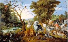 The Entry of the Animals into Noah's Ark, by Jan Brueghel the Elder, Flemish painting, oil on panel. Animals fill the earth and sky as they are shepherded by Noah toward the ark in the far dist The Animals, Google Art Project, Baroque Painting, Baroque Art, Framed Art Prints, Painting Prints, Canvas Prints, Paintings, Paradise Landscape