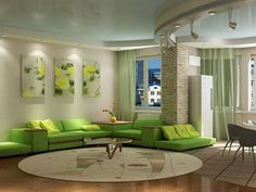 Lime Green Living Room living room and kitchen with green walls design ideas apartment
