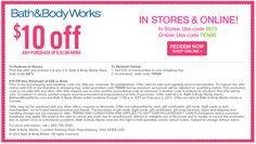 $10 off $30 at Bath & Body Works, or online via promo code TEN30 coupon via The Coupons App