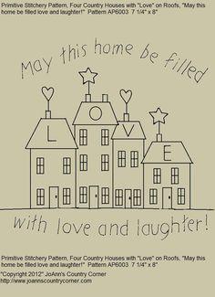 Primitive Stitchery EPattern May this home par JoAnnCountryCorner, $2.00