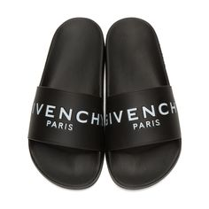 e4b0fb785b950b Givenchy - Black Logo Slide Sandals Black Slip On Shoes