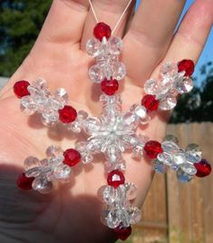 DIY Homemade Christmas Ornaments at BetterBudgeting: Beaded Crystal Snowflake with crystal beads