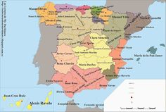 Los autores por provincia de España.