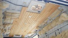 Ceiling Installation in DIY Campervan Conversion - Fit Two Travel Van Insulation, Luxury Campers, Rent A Campervan, Tongue And Groove Ceiling, Plank Ceiling, Puck Lights, Camper Van Conversion Diy, Ceiling Installation, Roof Vents