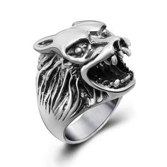 Personalized Wolf's Head and Skeleton Hands Titanium Steel Silver Men's Ring