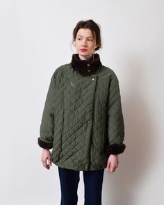 Army Green Quilted Jacket with Mink Fur Lining by ShopNarro