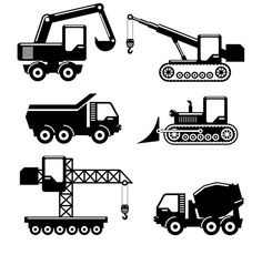 Construction machinery icons by Microvector on @creativemarket
