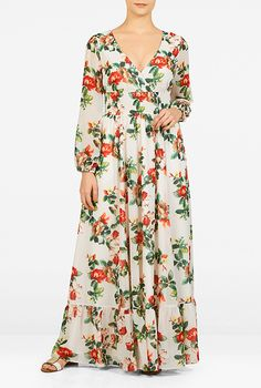 """I love this Floral Print Surplice Maxi Dress from eShakti 