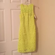 Neon lace dress Neon green lace dress with sheer underlay by J Crew! Never worn! J. Crew Dresses Midi