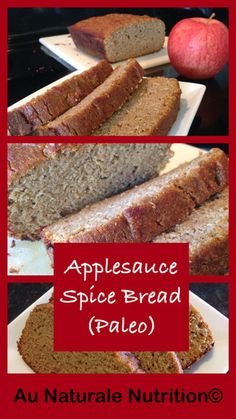 What bread is gluten free ? 20 of the Best Paleo Coconut Flour Bread Recipes Applesauce Spice Bread! Absolutely moist and delicious! Paleo Sweets, Paleo Dessert, Gluten Free Desserts, Gluten Free Recipes, Dessert Recipes, Healthy Desserts, Grain Free, Dairy Free, Lactose Free