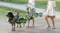 Flower-draped dog leash