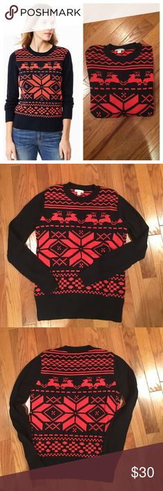 🆕 GAP reindeer sweater This screams winter spirit! Classic pattern and thick yet soft construction. 100% cotton. Worn a few times and too small for me now. 16 inches armpit to armpit, 22 shoulder to hem. GAP Sweaters Crew & Scoop Necks