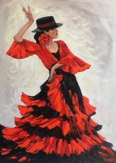 Flamenco dancer original oil painting on canvas, Flamenco original artwork framed, flamenco handmade wall art, framed canvas art, gift idea Oil Painting For Sale, Online Painting, Oil Painting On Canvas, Canvas Art, Framed Canvas, Spanish Dancer, Spanish Art, Dancer Drawing, Art Noir