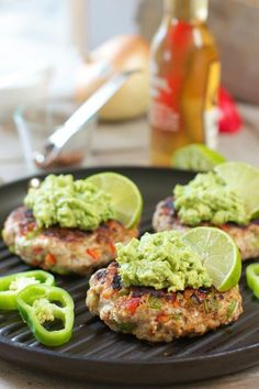 Chili Lime Chicken Burgers with Avocado Salsa