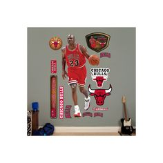 1c170e72208 Michael Jordan Legend Wall Art Decal ($71) ❤ liked on Polyvore featuring  home, home decor, wall art, sports wall decals, wall stickers, sport wall  decals ...