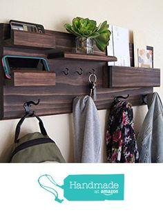 Coat Rack with Mail and Phone Storage Key Hooks Organizer from Midnight Woodworks http://www.amazon.com/dp/B017DTYWP4/ref=hnd_sw_r_pi_dp_3EONwb10CZQZS #handmadeatamazon