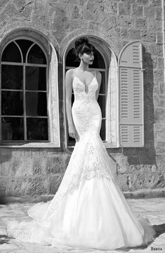 Berta #bridal Summer Edition 2014 collection; mermaid #wedding dress with straps.