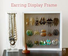 Earrings Displays Stainless Metal Bars Collapsible Jewelry Displays Props Retail Fixtures Craft Show Stands - Custom Jewelry Ideas Boutique Jewelry Display, Jewellery Display, Earring Display Stands, Frame Display, Craft Tutorials, Diy Projects, Retail Fixtures, Jewelry Frames, Custom Jewelry