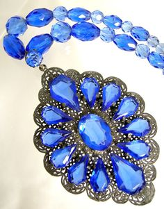 Incredible Blue Czech Glass Art Deco Necklace by worn2perfection, $250.00