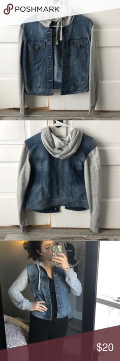 Jean jacket. Size L fits like a S A hooded jean jacket with gray sweater sleeves. Brand new condition. Size large tag but I'm a size small and I've included pictures of me wearing it to show how it would fit a small!   Make me an offer 💞 Jackets & Coats Jean Jackets