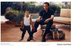 """He is the greatest to ever enter the ring, and Louis Vuitton has recognized his brilliance. Muhammad Ali is the new spokesperson for the luxury handbag designer. Shot by Annie Liebovitz, the ads capture the beloved American hero in a candid moment with his pint-size grandson, Curtis Muhammad Conway Jr., ready to follow in his massive footsteps. Curtis, also known as """"C.J.,"""" is the son of Laila Ali, and his grandfather personally requested that the three-year old appear in the ad with him."""