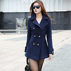 2014 nuova moda sottile cappotto di lana a doppio petto delle donne Xinfu ™ - EUR € 24.07