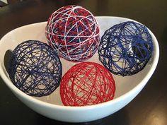 patriotic craft, string balls, patriotic string balls, craft, fourth of july craft, 4th of july craft