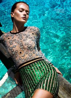 the hit dress - Annabella Barber Dives in for Harpers Bazaar Australia December 2012 by Simon Lekias