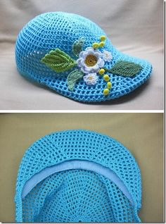 Crochet Mesh Cap with Flowers Crochet Hat With Brim, Knit Or Crochet, Irish Crochet, Hand Crochet, Free Crochet, Knitted Hats, Crochet Wallet, Crocodile Stitch, Diy For Men