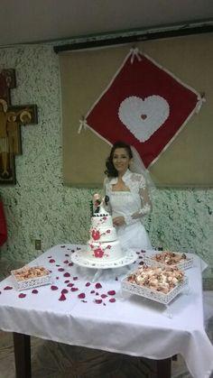 Mesa do bolo casamento.
