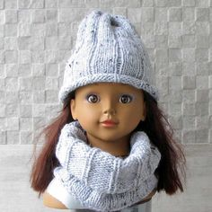 Hand Knit Toddler Kids Slouchy Hat and Cowl Scarf by DamovFashion