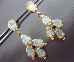 ANTIQUE 2.20CT OPAL & SAPPHIRE 14KT YELLOW GOLD RAINDROP HANGING EARRINGS #23345