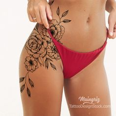 Cover Up Tattoos For Women, Hip Tattoos Women, Back Tattoo Women, Side Thigh Tattoos Women, Amazing Tattoos For Women, Mini Tattoos, Body Art Tattoos, Tribal Tattoos, Cool Tattoos