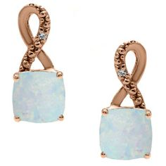 Rose Gold Cushion-Cut Opal Birthstone Diamond Drop Earrings Jewelry Available Exclusively at Gemologica.com