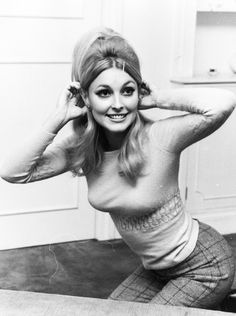 Sharon Tate in her London apartment, 1965.