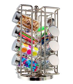 Use a spice rack to store odds and ends. Would be good to store scraps of ribbon, buttons, etc.