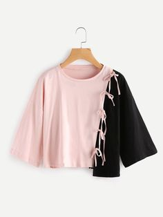 Shop Asymmetric Contrast Tee With Tie Detail online. SheIn offers Asymmetric Contrast Tee With Tie Detail & more to fit your fashionable needs. Girls Fashion Clothes, Teen Fashion Outfits, Cute Fashion, Girl Fashion, Girl Outfits, Fashion Dresses, Vintage Fashion, Fashion Hacks, Fashion Ideas