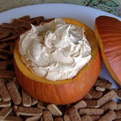 Pumpkin fluff dip!!!!16oz Cool Whip, small instant vanilla pudding package, 1 can pumpkin, 1 teaspoon pumpkin pie spice!