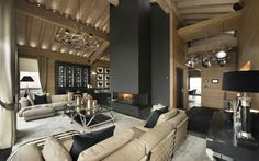 blonde wood and charcoal || Chalet Petit Palais, Courchevel 1850 - luxury ski chalet from Firefly Collection - http://www.firefly-collection.com/properties/show/181/le-petit-palais/luxury-ski-chalet/courchevel-1850/france