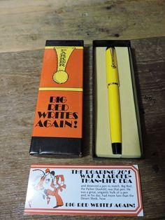 Vintage 70s Yellow gold trim GT Big Red Parker Ballpoint Pen black in BOX USA #Parker