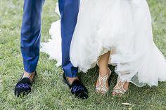 "Custom Deltoro slippers & Rene Caovilla ""Newport Strass Crystal"" sandal.  Photo from MIA & DORELL WEDDING collection by Scott Clark Photo Inc."