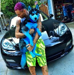Riff Raff and his blue dyed husky!!