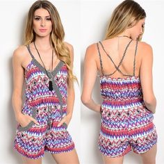🆑 Multi Colored Tribal Romper New without tags. Lightweight tribal print romper that's perfect for those hot sunny days! Black / White / Purple / Blue / Pink. Available in sizes S(0-4) M(6-8) L(10-12). Dresses