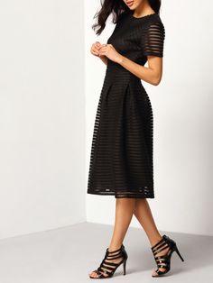 Short Sleeve Hollow Out Flippy Dress -SheIn(Sheinside)